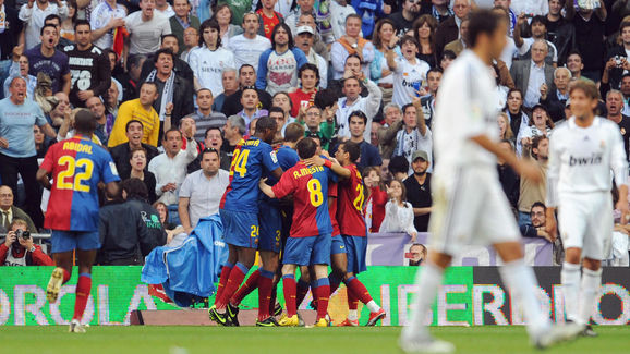 Barcelona's players celebrate after scor