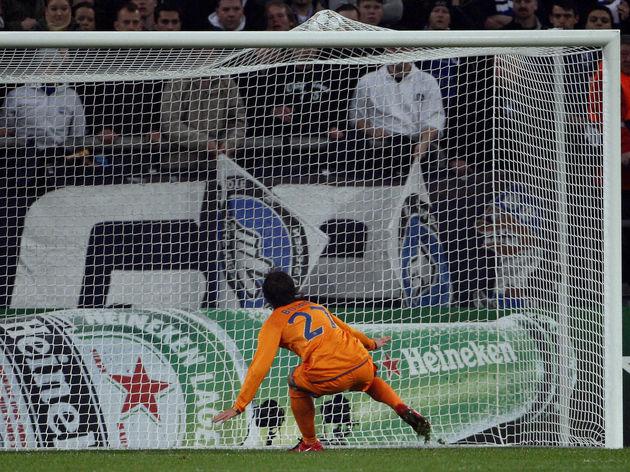 Barcelona's striker Bojan Krkic scores a