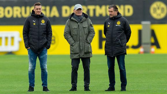 Leiter der Lizenzspielerabteilung Sebastian Kehl,. CEO - Geschaeftsfuehrer Hans-Joachim Watzke,Sportdirektor Michael Zorc