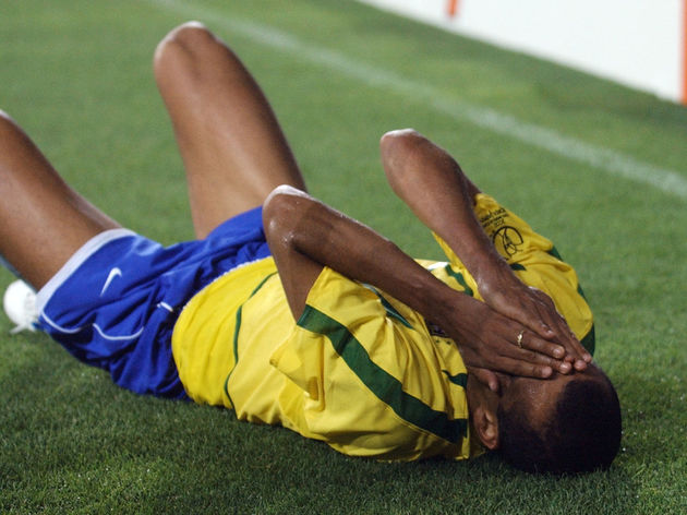 Brazil's Rivaldo reacts after a foul, 03 June 2002