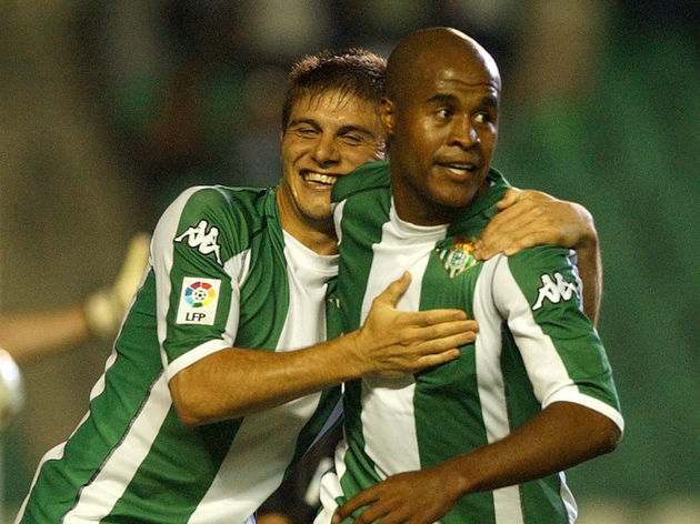 Brazilian Betis's Assuncao celebrates hi
