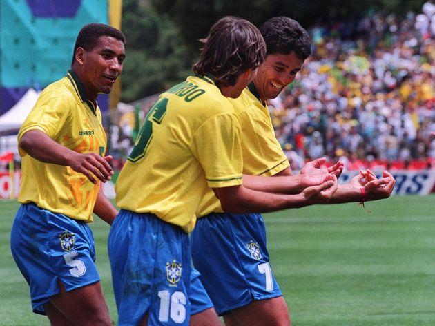 Brazilian forward Bebeto (R), imitated by Leonardo
