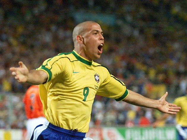 Brazilian forward Ronaldo jubilates afte