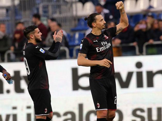Zlatan Ibrahimovic of Milan looks on