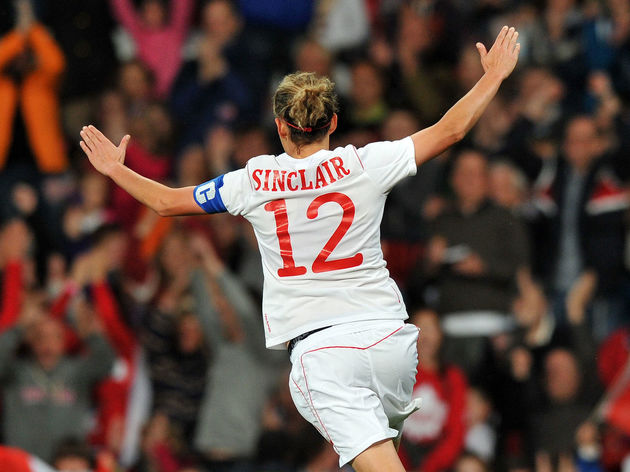 Canada's forward Christine Sinclair cele