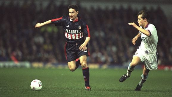 Carlos Aguilera of Atletico Madrid and Lee Hendrie of Aston Villa