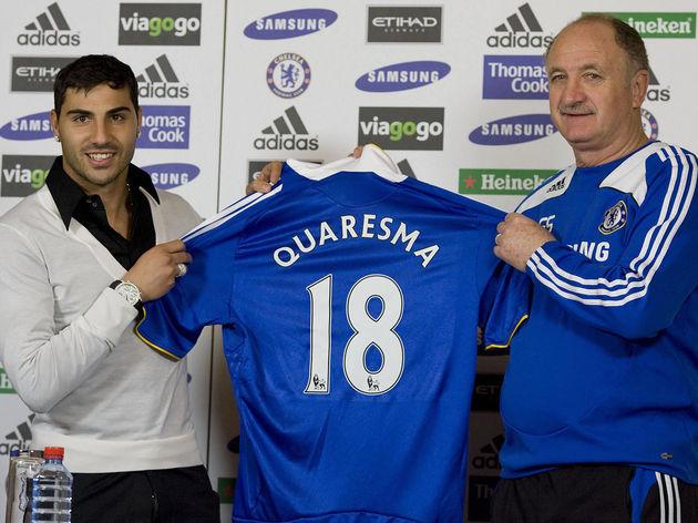 Chelsea new signing Ricardo Quaresma (L)