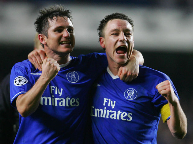 Chelsea's Frank Lampard (L) and John Ter