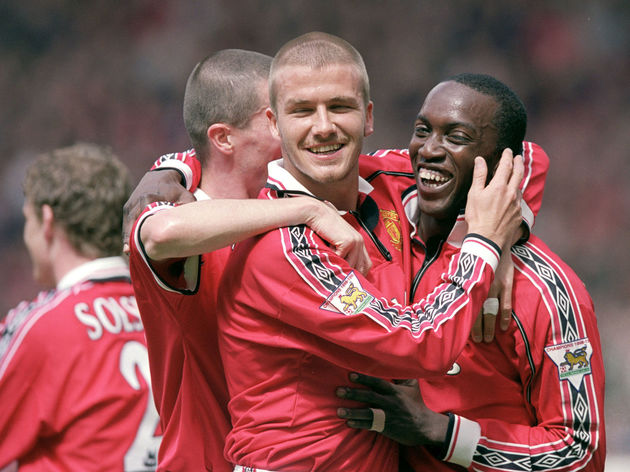 David Beckham Roy Keane and Dwight Yorke of Manchester United celebrate