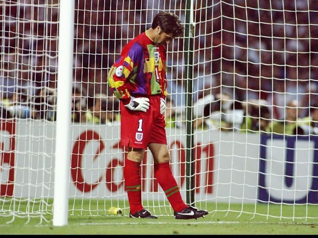 David Seaman of Engalnd prepares for another penalty kick