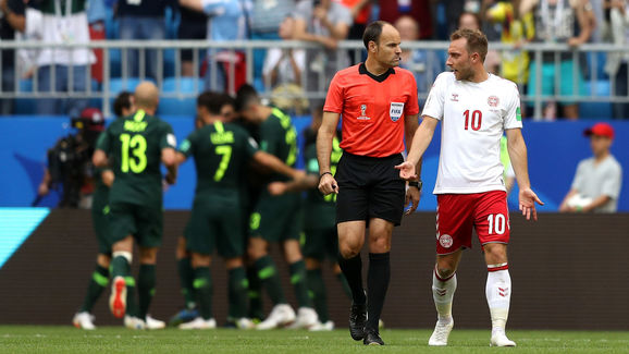 Denmark v Australia: Group C - 2018 FIFA World Cup Russia  Denmark 1-1 Australia: Socceroos Earn First Point After Another Controversial VAR Decision process url https 3A 2F 2F90min images original