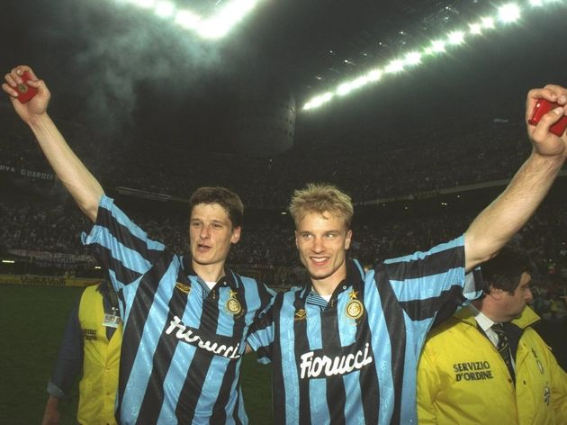 Dennis Bergkamp and Wim Jonk of Inter Milan