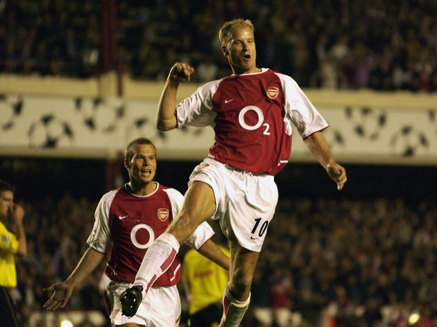 Dennis Bergkamp of Arsenal celebrates