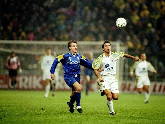 Didier Deschamps of Juventus and Hirsto Stoichkov of Parma