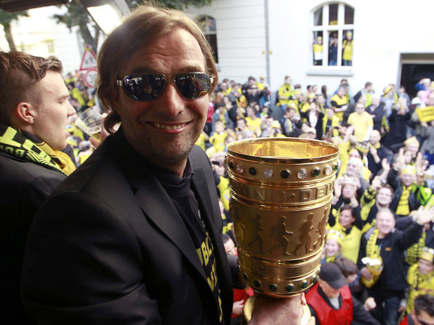 Dortmund's head coach Juergen Klopp hold