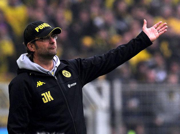 Dortmund's head coach Juergen Klopp reac