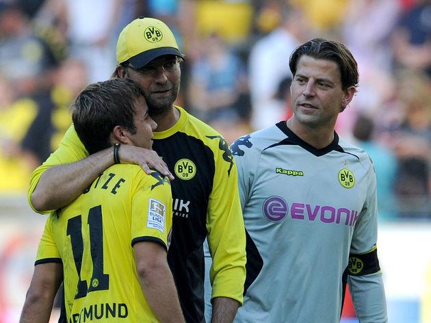 Dortmund's Mario Goetze, headcoach Juerg