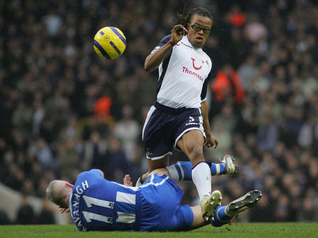 Edgar Davids of Tottenham jumps over Gra