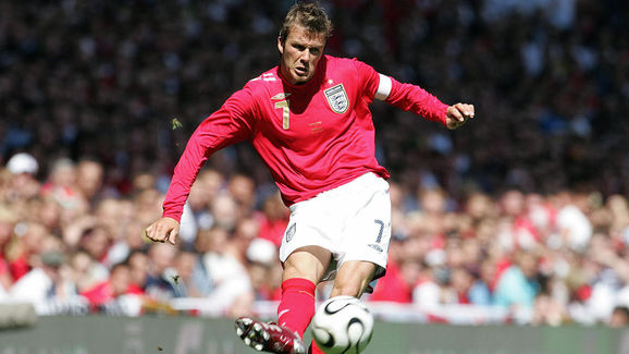 England captain David Beckham crosses th