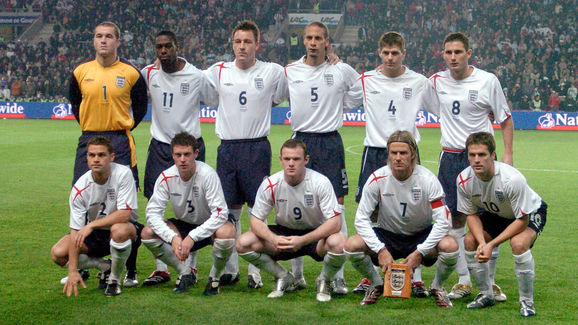 England team poses before the match Engl
