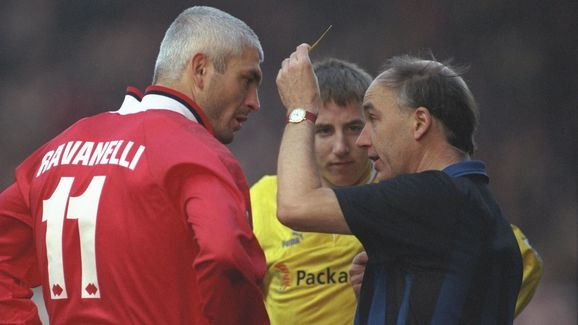 Fabrizio Ravanelli of Middlesbrough (left) is booked