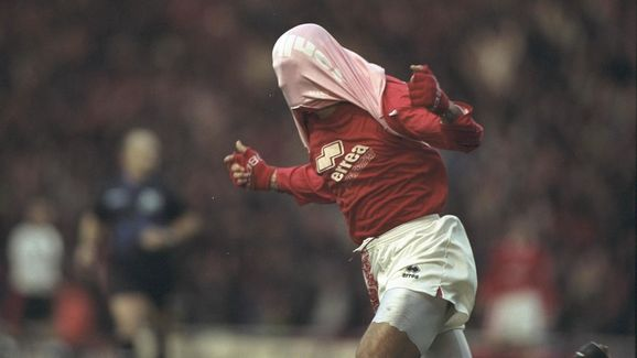 Fabrizio Ravenelli of Middlesbrough celebrates scoring in his usual style