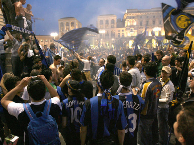 Fans of Italian Serie A team Inter Milan...