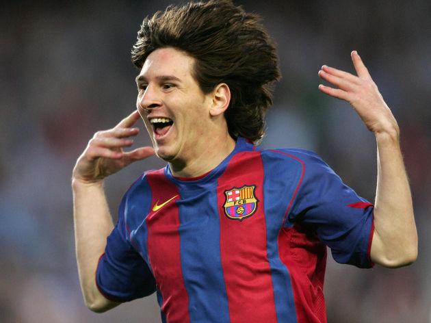FC Barcelona's Argentinian Messi celebra