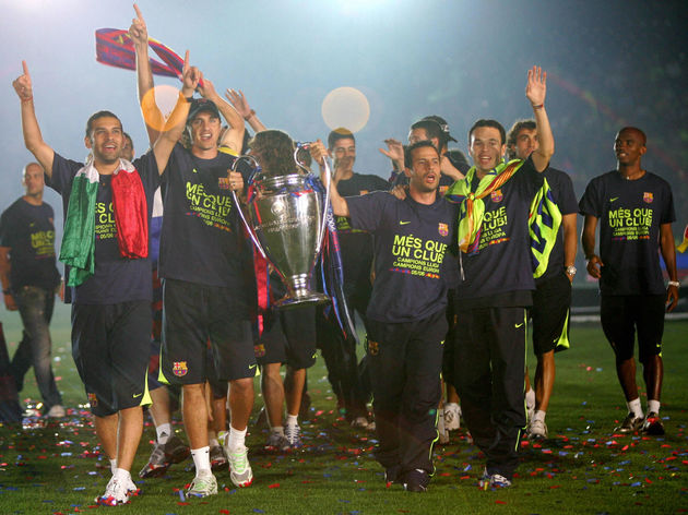 FC Barcelona's players celebrate winning