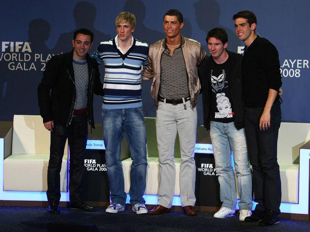 Xavi,Fernando Torres,Lionel Messi,Cristiano Ronaldo
