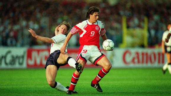 Flemming Povlsen of Denmark and Stuart Pearce of England