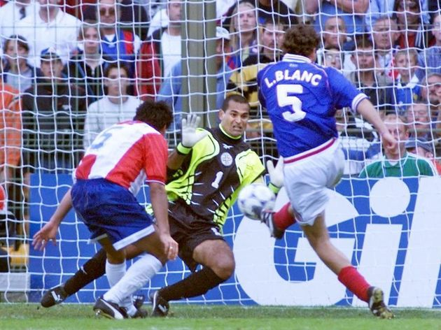 French defender Laurent Blanc scores as