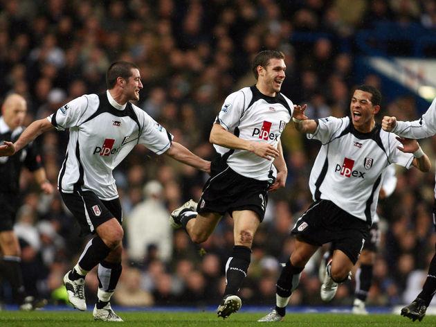 Fulham's Moritz Volz (2nd L) celebrates