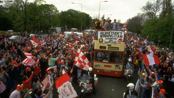 General view of the Liverpool team bus