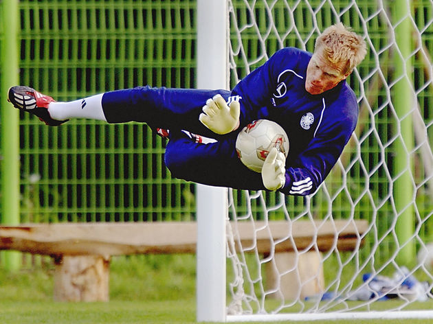 German goalkeeper and captain Oliver Kahn catches