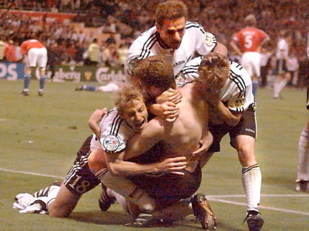German players celebrate after Oliver Bierhoff gav