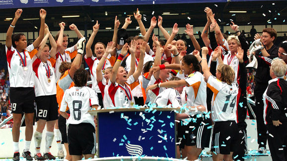 Germany celebrate after winning the Wome