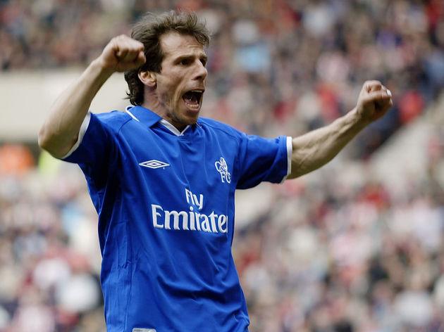 Gianfranco Zola of Chelsea celebrates scoring the equalising goal