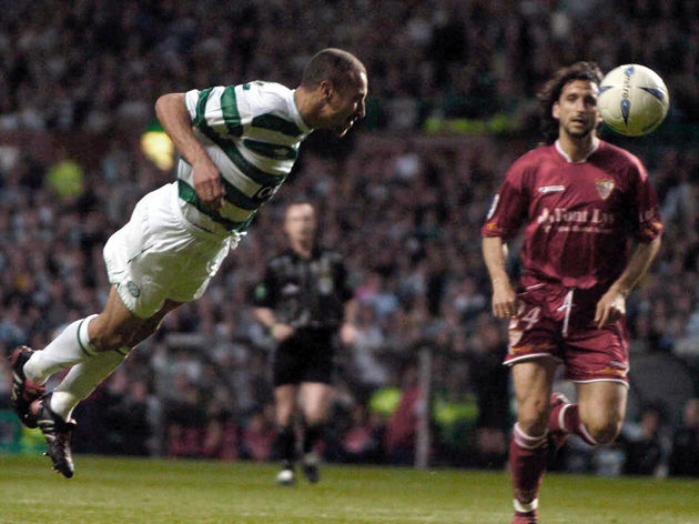 Henrik Larsson just fails to score in hi