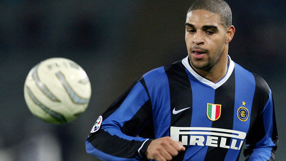 Inter Milan's Adriano controls the ball