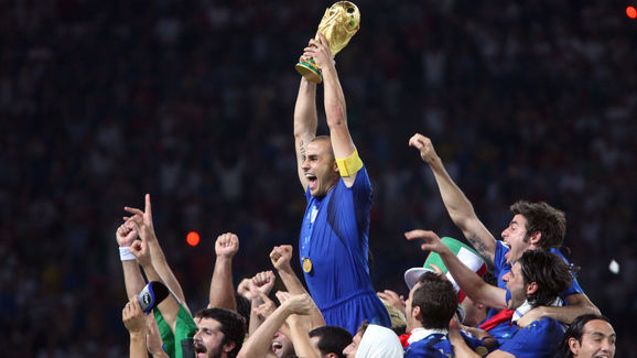 Italian defender Fabio Cannavaro celebra