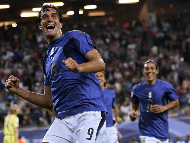 Italian forward Luca Toni celebrates aft