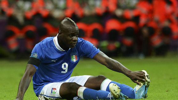 Italian forward Mario Balotelli reacts d