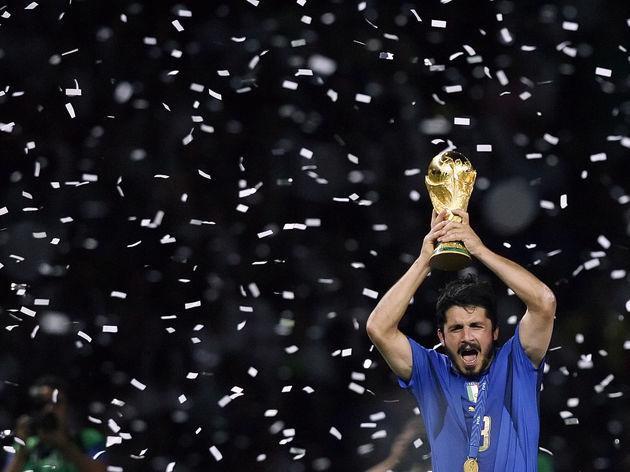 Italian midfielder Gennaro Gattuso holds