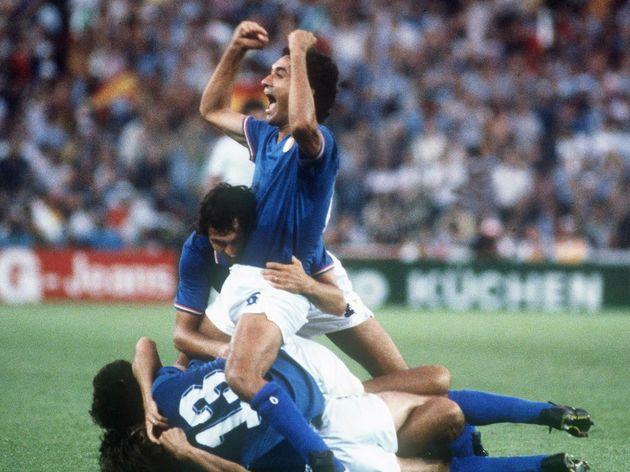 Italians defenders Antonio Cabrini (top,