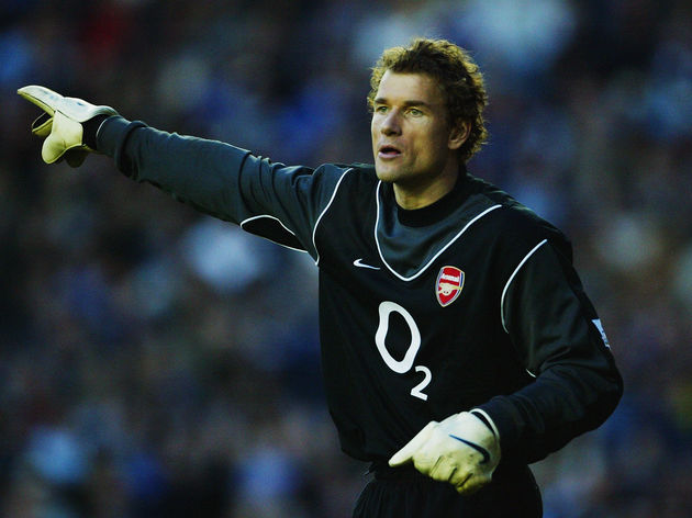 Jens Lehmann of Arsenal signals to a team mate