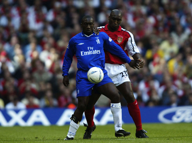 Jimmy Floyd Hasselbaink of Chelsea and Sol Campbell of Arsenal