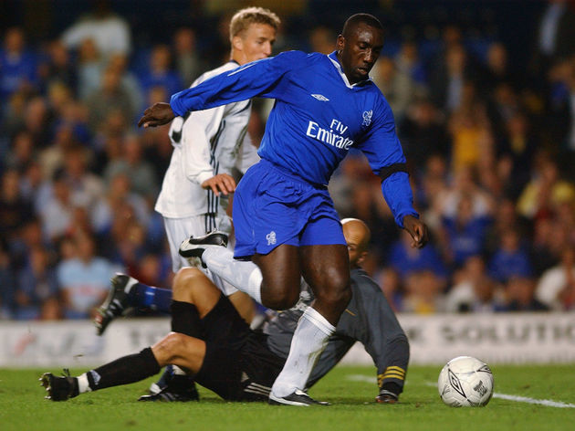 Jimmy Floyd Hasselbaink of Chelsea scores the opening goal