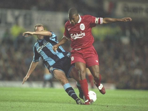 John Barnes of Liverpool on the ball (right) is challenged by Gary McAllister of Coventry