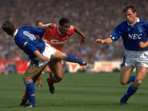 Kevin Ratcliffe, Dave Watson of Everton and John Barnes of Liverpool